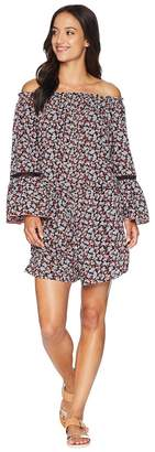 MICHAEL Michael Kors Mini Cherry Blossoms Off the Shoulder Romper Cover-Up w/ Inset Ladder Trim Women's Swimsuits One Piece