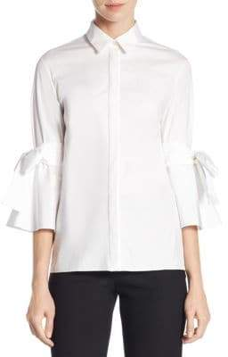 Carolina Herrera Bow Button Front Bell-Sleeve Blouse