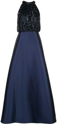 Sachin + Babi sequin top halter gown