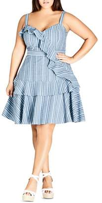 City Chic Plus Summer Ruffle Stripe Dress