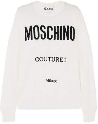 Moschino Intarsia Wool Sweater - White