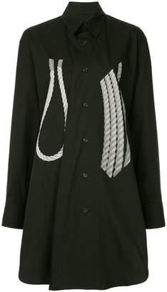 Yohji Yamamoto rope print long-line shirt