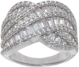 Diamonique Baguette and Round Swirl Ring, Platinum Clad