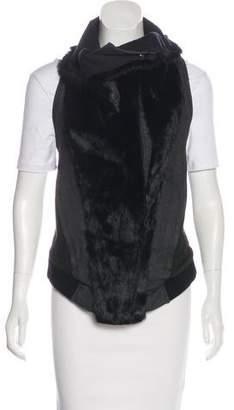 Helmut Lang Fur-Trimmed Asymmetrical Vest