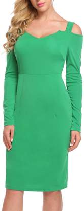 Burlady Women's Sexy Cold Shoulder Long Sleeve Slim Fit Bodycon Casual Dress
