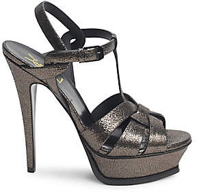 Saint Laurent Women's Tribute 105 Metallic Leather Platform Sandals