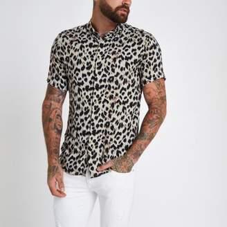 River Island Grey leopard print revere slim fit shirt
