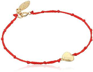 Ettika Red Knotted Silk Thread Bracelet with -Tone Heart Charm