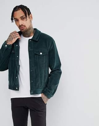 Asos DESIGN cord western jacket in bottle green