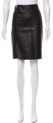 Ralph Lauren Leather Knee-Length Skirt