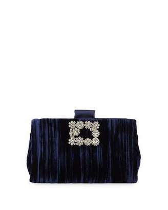 Roger Vivier Soft Flowers Embellished Velvet Clutch Bag