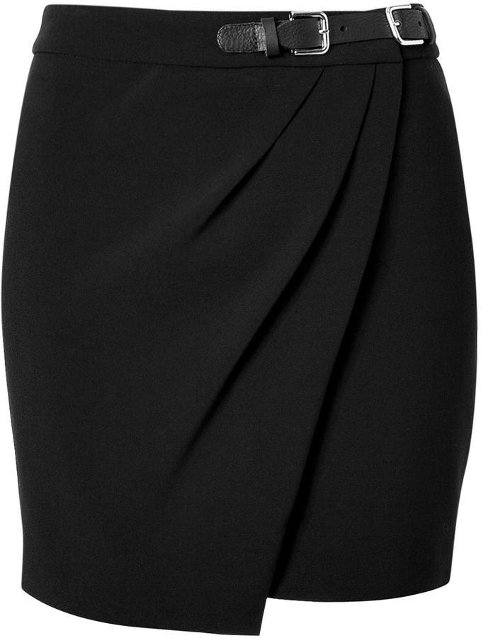 Sandro Black Wrap Effect Skirt