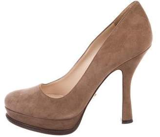 Prada Suede Almond-Toe Pumps