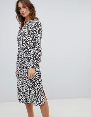 Vila Leopard Midi Shirt Dress