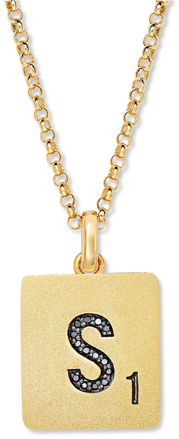 ScrabbleTM 14k Gold over Sterling Silver Black Diamond Accent