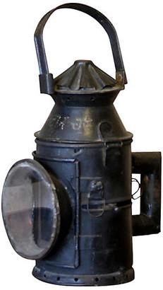 One Kings Lane Vintage Antique Train Glass Lantern - de-cor