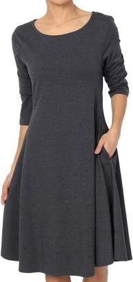 TheMogan Women's 3/4 Sleeve Cotton Jersey Fit & Flare A-Line Dress L