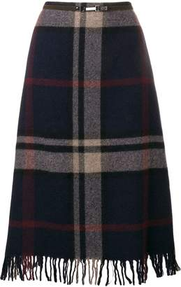 Max Mara 'S fringed plaid midi skirt