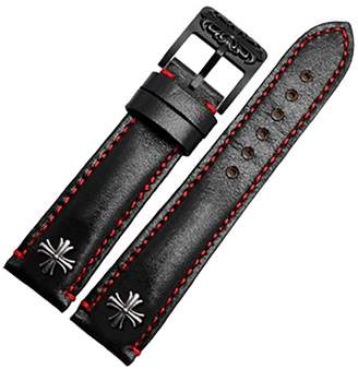 Rolex Span Realm Genuine Leather Strap With Stainless Steel Cross R-O-L-E-X/ H-A-M-I-T-O-N/ I-W-C Replacement 20/21/22mm (, 20)