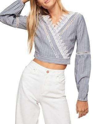Miss Selfridge Striped Lace Wrap Cotton Crop Top