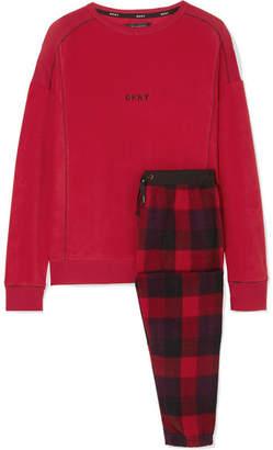 DKNY Too Good To Give Checked Fleece Pajama Set - Red