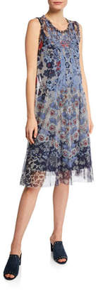 Johnny Was Sleeveless Floral Mesh Dress