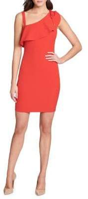 GUESS Tied Asymmetrical Ruffle Sheath Dress