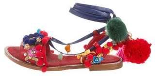 Dolce & Gabbana 2016 Mink-Trimmed Embellished Sandals