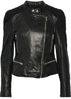 Muubaa Yarra Nubuck-Trimmed Leather Biker Jacket $575 thestylecure.com