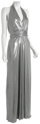 David Meister silver cross front long halter dress