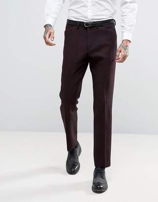 Asos DESIGN Slim Suit Pants in Harris Tweed Herringbone 100% Wool