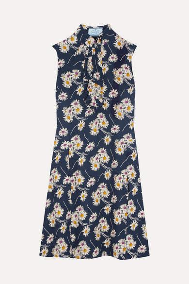 Prada - Ruffled Floral-print Crepe Dress - Navy