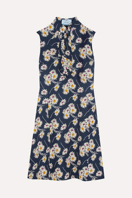 Prada Ruffled Floral-print Crepe Dress - Navy