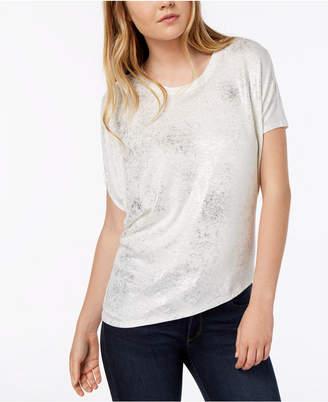 Bar III Metallic Asymmetrical T-Shirt