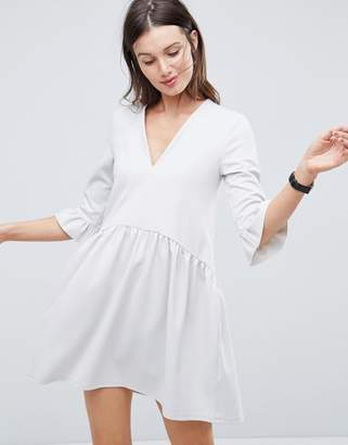 Asos Design V Neck Smock Dress With Frill Cuff