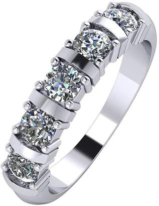 Moissanite Platinum 1ct 5 Stone Eternity Ring