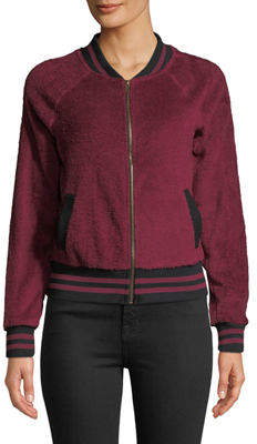 Miss Chievous Faux-Sherpa Zip-Front Bomber Jacket
