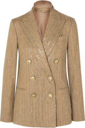 Brunello Cucinelli Double-breasted Sequined Herringbone Cotton-blend Blazer - Beige