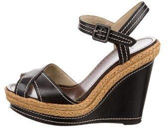 Christian Louboutin Christian Louboutin Leather Wedge Sandals