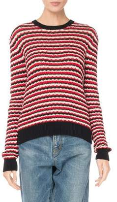 Saint Laurent Crewneck Long-Sleeve Stripe Crochet Cotton Sweater
