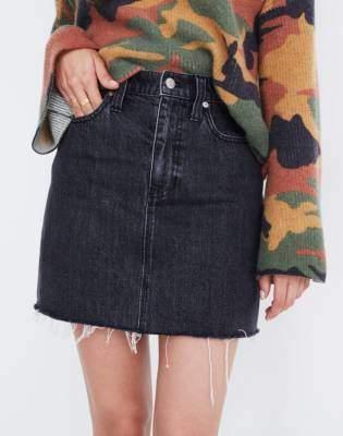 Madewell Rigid Denim Straight Mini Skirt in Hideaway Wash