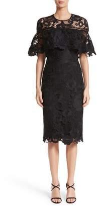 Lela Rose Lace Capelet Sheath Dress