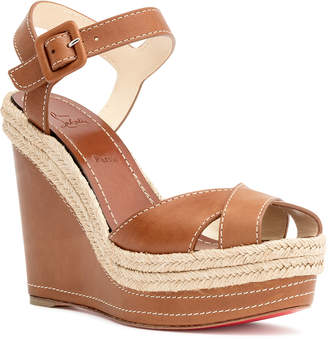 Christian Louboutin Almeria 120 tan leather espadrilles