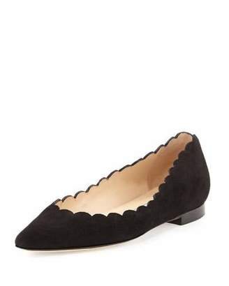 Manolo Blahnik Srila Scalloped Pointed-Toe Flat, Black $685 thestylecure.com