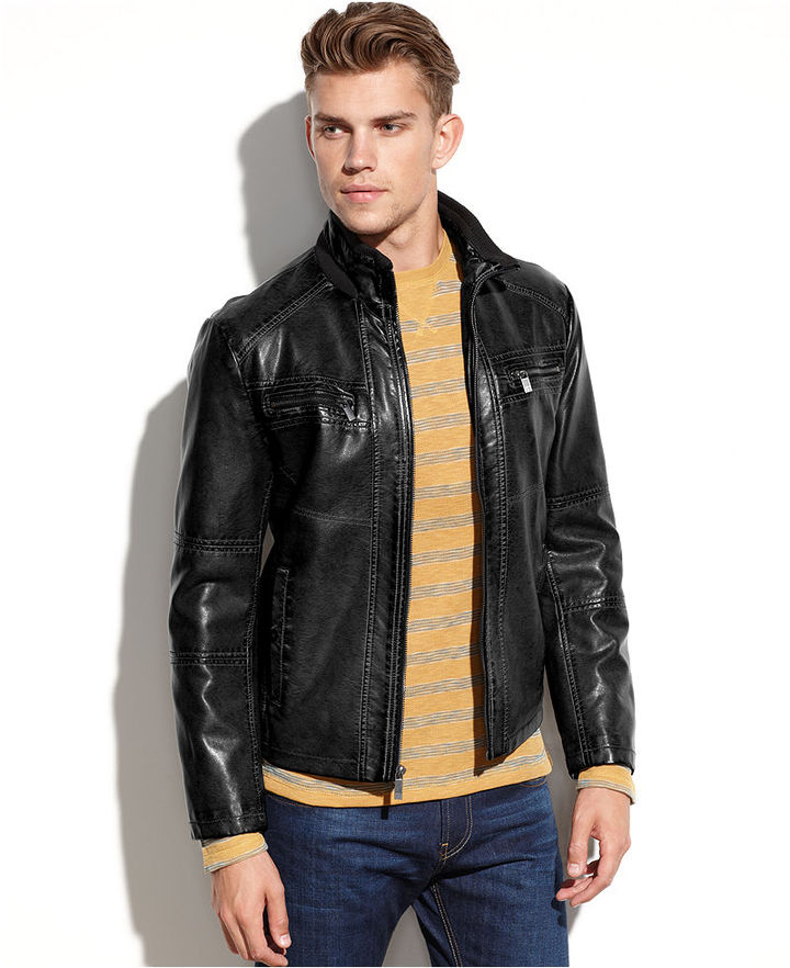 Kenneth Cole Reaction Coat, Washed Faux Leather Jacket