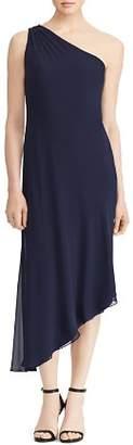 Ralph Lauren Georgette One-Shoulder Dress