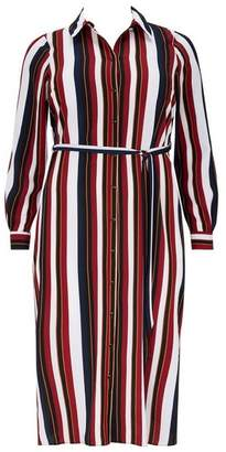 Evans Rust Stripe Midi Shirt Dress