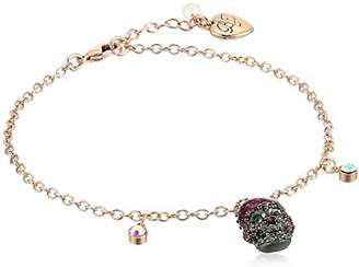 Betsey Johnson Women's Rose Gold Anklet with a Skull and Crystal Stone Drops