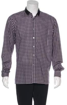 Lanvin Grosgrain-Trimmed Plaid Shirt