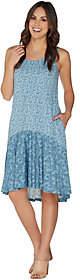 LOGO by Lori Goldstein Printed Dress withFlounce Detail